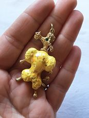 Vintage Gold Toned and Yellow Poodle Pendant with Emerald Green Gem Eye #I5vqfkENwgw