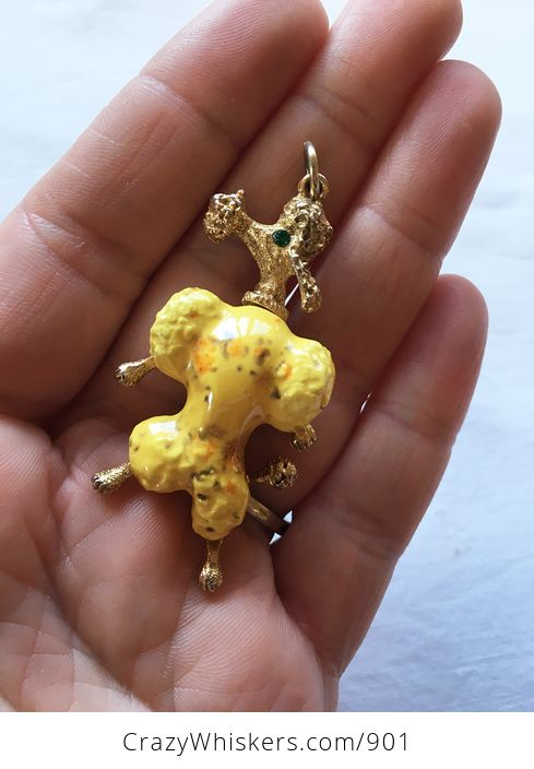 Vintage Gold Toned and Yellow Poodle Pendant with Emerald Green Gem Eye - #I5vqfkENwgw-1