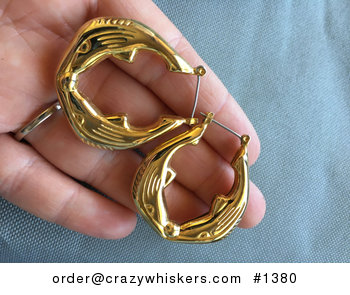 Vintage Gold Toned Circular Hollow Whale Earrings #PIgF9xRUzOg