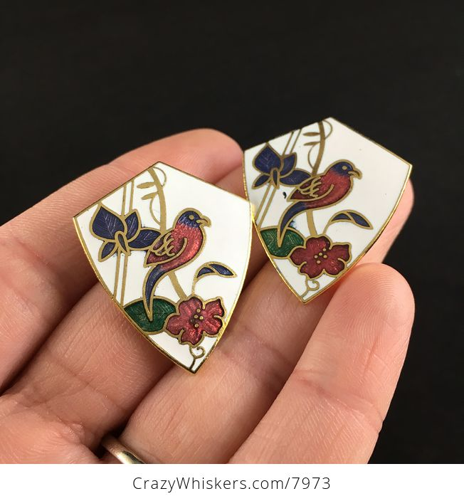 Vintage Jewelry Cloisonne Bird and Flower Earrings - #FhYLTqVLupY-2