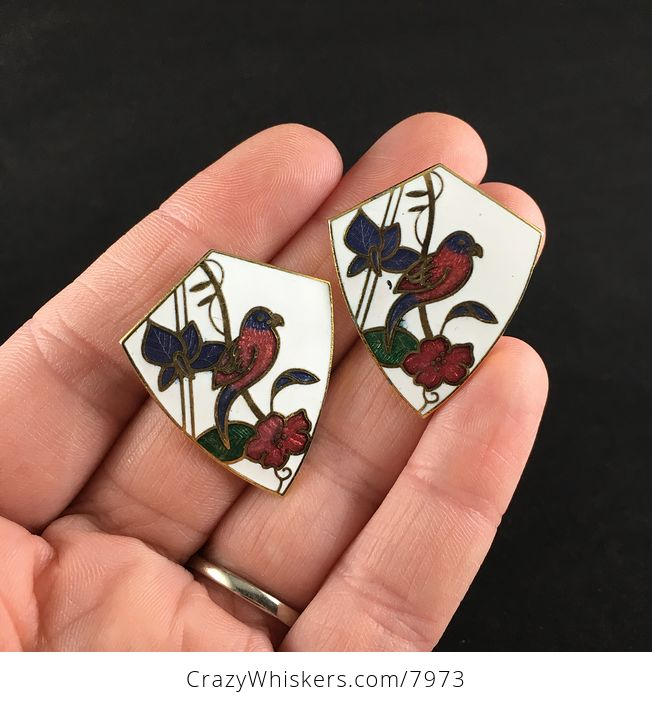 Vintage Jewelry Cloisonne Bird and Flower Earrings - #FhYLTqVLupY-1