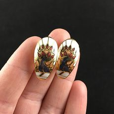 Vintage Jewelry Cloisonne Stunning Peacock Earrings #8wRWC0nMzBE