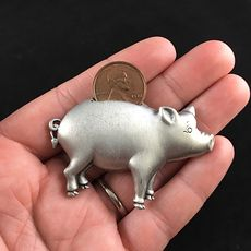 Vintage Jj Jonette Piggy Bank Pig Penny Brooch Pin Jewelry #fiKM0qHgl58