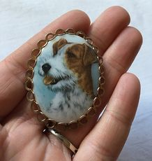 Vintage Oval Jack Russell Terrier Dog Portrait Brooch Pin #YOR5t9nlves