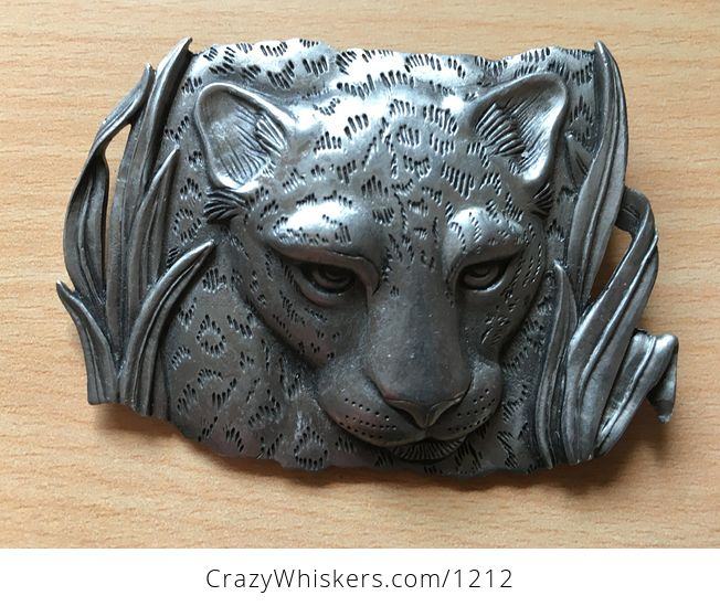 Vintage Pewter Leopard or Cheetah Big Cat Brooch by Jj 1986 - #t3cqmLwDuZk-1