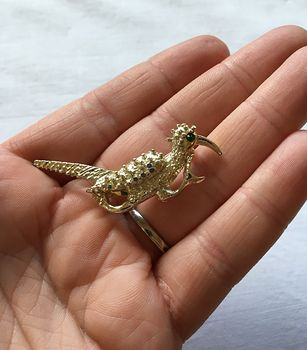 Vintage Running Roadrunner Brooch Pin with Green Eye #upohJW5OKgU