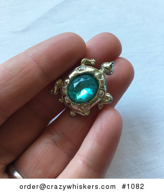 Vintage Silver Tone Turtle Brooch Pin with Blue Gem Stone Shell #jMss5jKd1NI