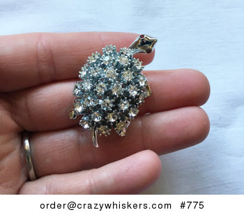 Vintage Silver Tone Turtle Brooch Pin with Red Eyes and White Sparkly Stones As the Shell #uLkHR3WA9cM