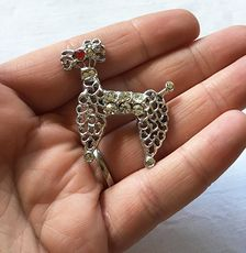 Vintage Silver Toned Poodle Brooch Pin with a Red Eye and Rhinestones #nBVWonCw29k