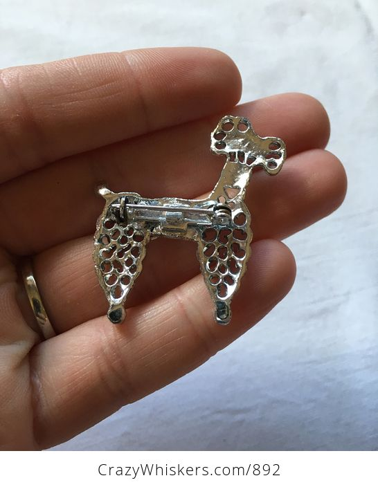 Vintage Silver Toned Poodle Brooch Pin with a Red Eye and Rhinestones - #nBVWonCw29k-2