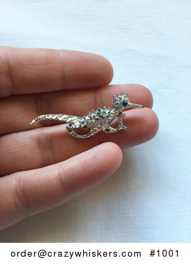 Vintage Silver Toned Running Roadrunner Brooch Pin with a Blue Eye #XDZrsf8rUzo