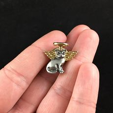 Vintage Winged Angel Kitty Cat Brooch Pin #2A1zq9NLGxc