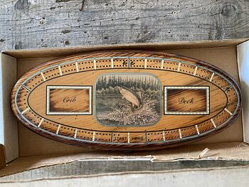 Vintage Wood Vandercraft Rainbow Trout Cribbage Board Made in Oregon #myxAOvAy9XI