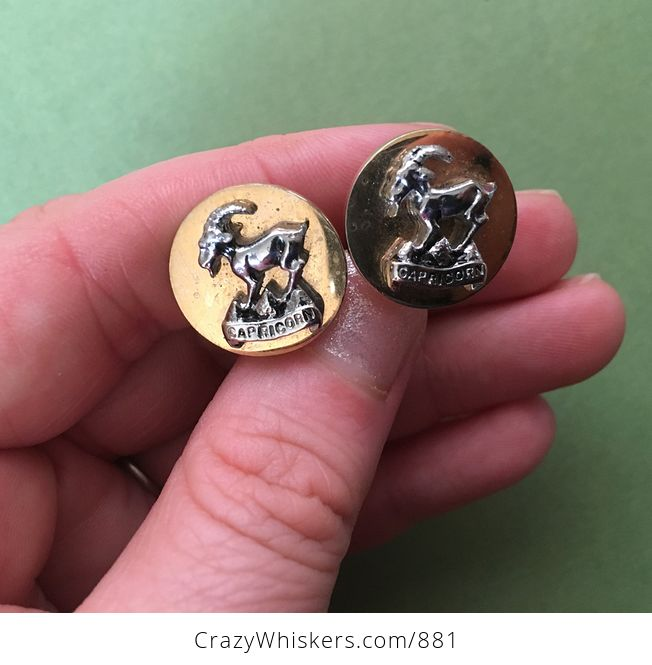 Vintage Zodiac Astrology Goat Capricorn Cuff Links by Swank Inc - #zBeN23DYTbg-2