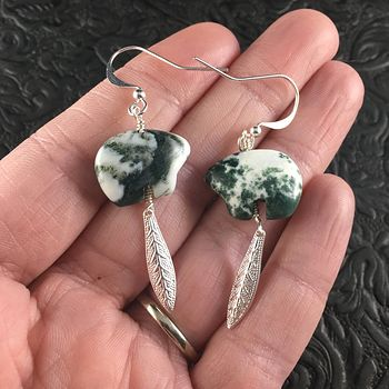 White and Green Tree Moss Agage Bear and Silver Toned Metal Leaf Earrings #OXr9UduIXW8