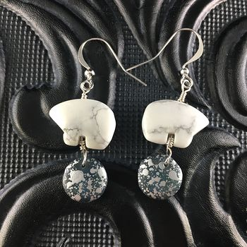 White Howlite Polar Bear and Arctic Styled Bead Earrings with Silver Wire #8klbiII013A
