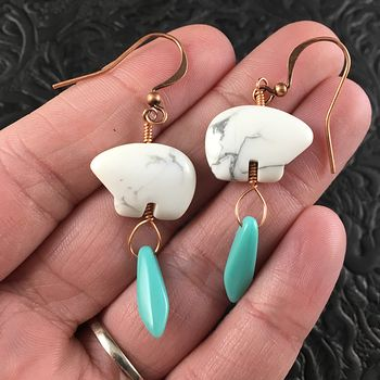 White Howlite Polar Bear and Blue Turquoise Colored Dagger Earrings with Copper Wire #rPgmPEKyjW8