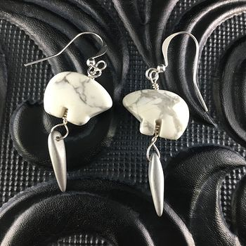White Howlite Polar Bear and Silver Dagger Earrings with Silver Wire #f4UvdmIzgHI