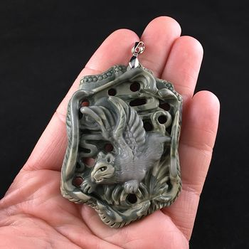 Winged Angel Cat Carved Ribbon Jasper Stone Pendant Jewelry #tSpgqf5HANA