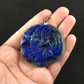 Winged Flying Angel Cat Carved Lapis Lazuli Stone Pendant Jewelry #0oclidoTNyE