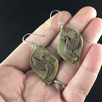 Winged Lion or Griffin Carved Ribbon Jasper Stone Jewelry Earrings #I80PJDpt7Yw