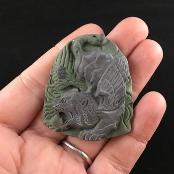 Winged Tiger Carved Ribbon Jasper Stone Pendant Jewelry #UlduapB6b4A