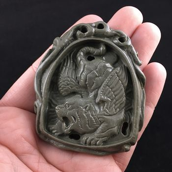 Winged Tiger Carved Ribbon Jasper Stone Pendant Jewelry #ylWJ5S2OX7k