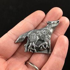 Wolf Earrings Brooch Necklace and Trinket Jewelry Box Set Vintage Torino Pewter #EkfIh26NLPA