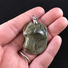 Wolf Face Carved Succor Creek Jasper Stone Pendant Jewelry #0zGInA3xkTo